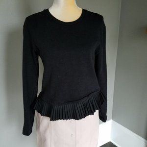 J Crew Ruffle Hem Peplum Black Sweatshirt XS